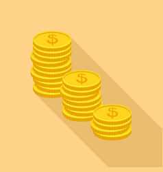 coin heap icon flat style vector image