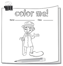 Coloring worksheet with an old man vector image vector image