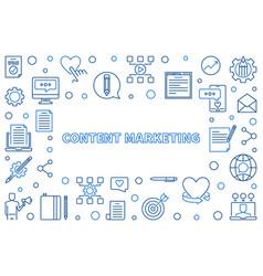 Content marketing concept blue thin line vector