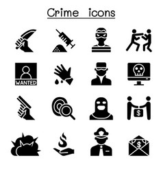 Crime violence icon set vector