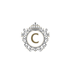 Crown leaf logo initial c vector