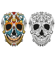 Decorated human skull for holiday Day of Dead vector image