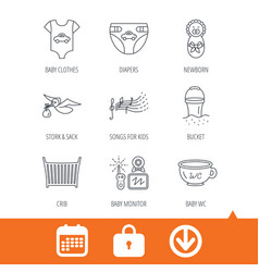 diapers newborn baby and clothes icons vector image