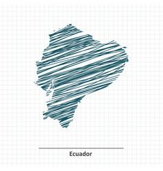 Doodle sketch of Ecuador map vector