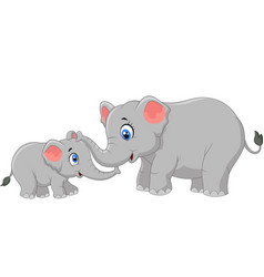 elephant mother and calf walking while bonding rel vector image