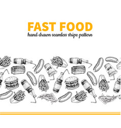 fast food hand drawn seamless stripe vector image