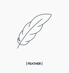 Feather outline icon vector