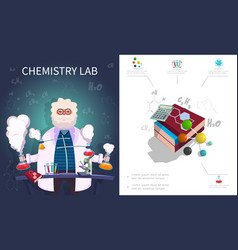 flat chemistry laboratory composition vector image