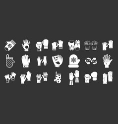 gloves icon set grey vector image