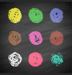 Grunge colorful chalk circles vector