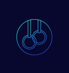 Gymnastics rings linear icon vector