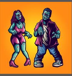 halloween zombie couple vector image