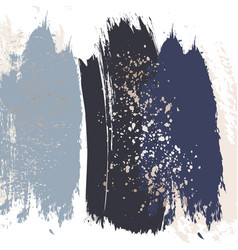 hand-dravn navy strokes with glitter effect foil vector image