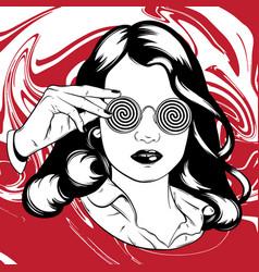 Hand drawn pretty girl in sunglasses surreal vector