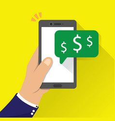 Hand holding phone with money icon notification vector
