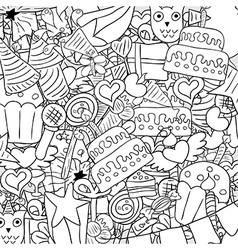 Happy birthday doodles background drawing by hand vector image