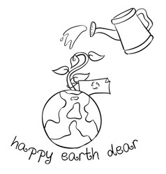 Happy earth day hand draw world vector