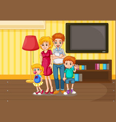 Happy family in living room vector
