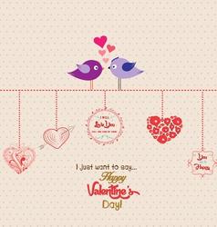 Happy valentines day romantic couple bird vector
