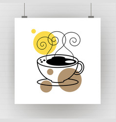hot coffee mug drawing art vector image
