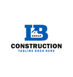 House building logo with letter ib vector