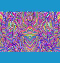 Iridescent tabby hippie trippy psychedelic style vector