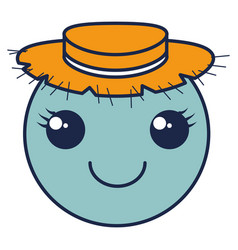 kawaii circle face emoticon with straw hat vector image