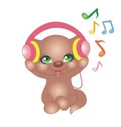 kitten with headphones vector image