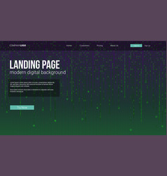 landing page concept for sites screen with binary vector image
