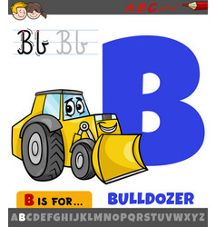 Letter b from alphabet with cartoon bulldozer vector