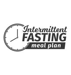 Logo of intermittent fasting meal plan clock face vector