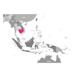 Map of cambodia pink highlighted in vector