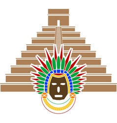 Mayan pyramid and mask vector