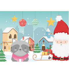 merry christmas celebration cute santa raccoon vector image