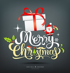 Merry Christmas greeting card lettering gift box vector image