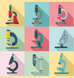 microscope icon set flat style vector image