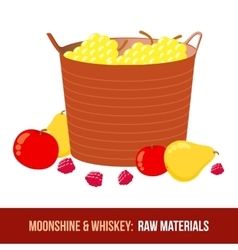 Moonshine and whiskey Harvest raw materials vector