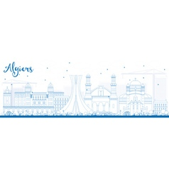 Outline Algiers Skyline with Blue Buildings vector image