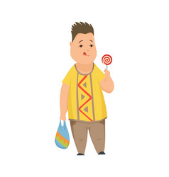 overweight boy cute chubchild cartoon vector image