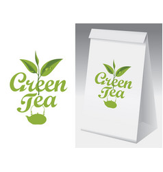 Paper packaging with label for green tea vector