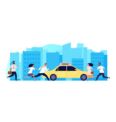 people need taxi one yellow car and many men vector image