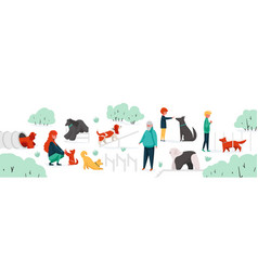 People with pets at park city park area vector