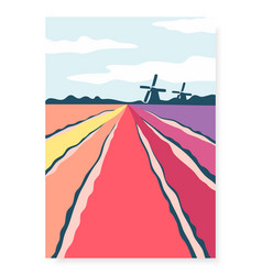 poster with abstract hand drawn tulip fields and vector image
