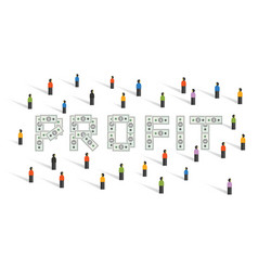 profit money financial in investment people crowd vector image