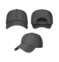 realistic 3d black baseball cap set vector image