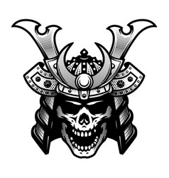 samurai skull warrior helmet in black and white vector image