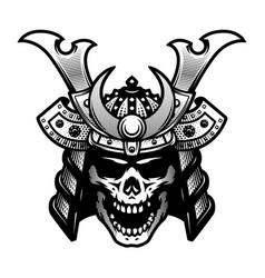 Samurai skull warrior helmet in black and white vector