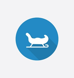 Santas sleigh Flat Blue Simple Icon with long vector image