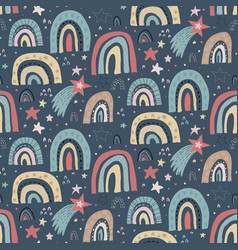 seamless pattern with rainbow and stars vector image