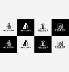 set building logo with line art style city vector image